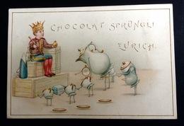 Chocolat SPRUNGLI ZURICH SUISSE  Chromo Anthropomorphisme Jacques 1er Empereur Sahara Roi Sucre Tasse Chocolat - Chocolate