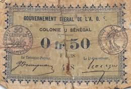 .D.18-2111 : BILLET GOUVERNEMENT GENERAL . COLONIE DU SENEGAL. 50 CENTIMES - Sénégal
