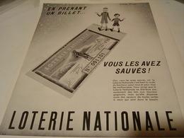 ANCIENNE PUBLICITE EN PRENANT UN BILLET  LOTERIE NATIONNAL  1941 - Boats
