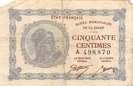 .D.18-2113 : BILLET ETAT FRANCAIS. MINES DOMANIALES DE LA SARRE. 50 CENTIMES. - Billets