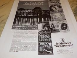 ANCIENNE PUBLICITE LE MATERIEL TELEPHONIQUE 1939 - Other