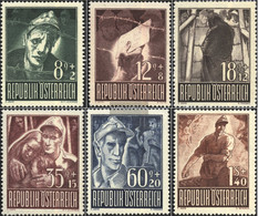 Austria 829-834 (complete.issue.) With Hinge 1947 POWs - 1945-60 Unused Stamps