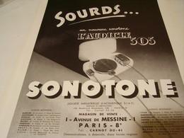 ANCIENNE PUBLICITE SOURDS DE SONOTONE 1939 - Pubblicitari