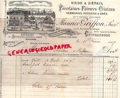 36- CHATEAUROUX-RARE FACTURE MAURICE GRIFFON-MICHEAU MOULINEAU-1909-PORCELAINES FAIENCES GRES-PORCELAINE- - Petits Métiers