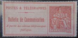 France - Timbre Téléphone 50c Type Chaplain YT N°18 Oblitéré - Télégraphes Et Téléphones