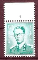 BELGIE Boudewijn Bril * Nr 1371  Pl4 * Postfris Xx * FLUOR PAPIER - 1953-1972 Lunettes