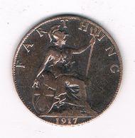 FARTHING 1917  GROOT-BRITANNIE /6036/ - 1902-1971 : Post-Victorian Coins