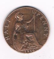 HALF PENNY  1916  GROOT-BRITANNIE /6037/ - 1902-1971 : Post-Victorian Coins