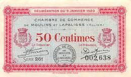 .D.18-2146 : CHAMBRE DU COMMERCE 50 CENTIMES.  MOULINS ET LAPALISSE. ALLIER. - Chambre De Commerce
