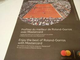 PUBLICITE AFFICHE CARTE MASTERCARD  ROLAND GARROS 2018 - Publicités