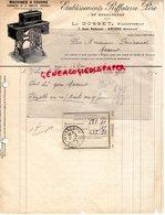 49 - ANGERS - BELLE FACTURE ETS. RIFFATERRE PERE DE BOURGANEUF-L. GOSSET -7 QUAI NATIONAL-MACHINES COUDRE 1927 - 1900 – 1949