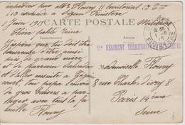 Cachet 11ème Regiment Territorial D'infanterie Et Cachet à Date Sizun Finistére Sur CPA En FM - Marcophilie (Lettres)