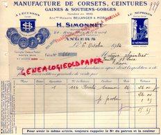 49- ANGERS- FACTURE H. SIMONNET-BELLANGER MORILLE- MANUFACTURE CORSETS CEINTURES GAINES- MEPHISTO-ECUSSON-1934 LINGERIE - Vestiario & Tessile