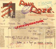 49-  ANGERS- FACTURE PAUL ROZE- FAIENCE VERRERIE BOUTEILLES BOUCHONS CLOCHES A JARDIN-1941 - Artigianato