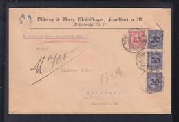 Dt. Reich Wertbrief 50 Goldmark 1921 Frankfurt Am Main Nach Hannover - Briefe U. Dokumente