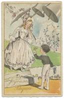 CPA  JOYEUSES PAQUES / JEUNE FEMME A L'OMBRELLE ET CLOCHES - Easter