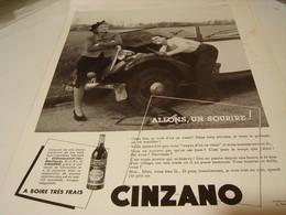 ANCIENNE PUBLICITE A BOIRE  FRAIS  CINZANO ALLONS UN SOURIRE 1939 - Posters