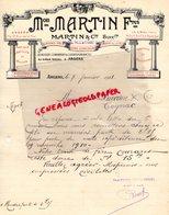 49- ANGERS- 83- LA CRAU- FACTURE MAISON MARTIN FRERES- MAUREL THEZE PROUST- FABRIQUE BOUCHONS LIEGES-1911 - Petits Métiers