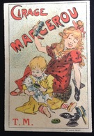 Cirage Marcerou  Joli Chromo Calendrier Illustrateur Mucha ? Petite Fille Chat 1899 - Calendriers