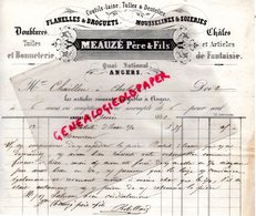 49- ANGERS- RARE FACTURE 1851- MEAUZE PERE & FILS- BONNETERIE FLANELLES DROGUETS-SOIERIES-SOIR-SILK- QUAI NATIONAL - 1800 – 1899