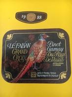 8876 -  FSG Le Brassus Gymnastique  1890 -1990 Suisse Pinot Gamy Le Faisan 1988 - Etiquettes