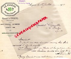 49- ANGERS- FACTURE LA FAGEINE- L. DOUSSET RUE LARREY- 1919 A MME BOUZY RESTAURANT DU THEATRE - Artigianato