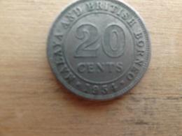 Malaya  Britich  Borneo  20  Cents 1954 Km 3 - Malaysie