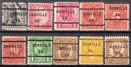 USA Precancel Vorausentwertung Preo, Locals Virginia, Danville 232, 10 Diff. Perf. 6 11x11, 4 X 11x10 1/2 - Vereinigte Staaten