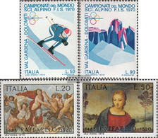 Italy 1303-1304,1305-1306 (complete.issue.) Unmounted Mint / Never Hinged 1970 Ski-WM, Santi - 6. 1946-.. Republic