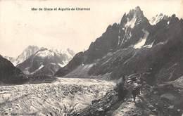 """08567 """"(AO) MER DE GLACE ET AIGUILLE DE CHARMOZ"""" ANIMATA.   CART  SPED 1911 - Italia"""