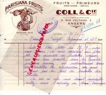 49- ANGERS- FACTURE PARISIANA FRUITS- PRIMEURS- COLL & CIE- 3 RUE VOLTAIRE-CACHET B. LEON CROIZET SAINT MEME COGNAC-1941 - Alimentaire