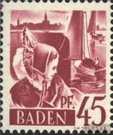 Franz. Zone-Baden 9I, Farbstrich Am Segel (Feld 18) Postfrisch 1947 Freimarken - French Zone