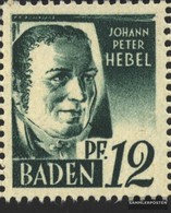 Franz. Zone-Baden 4VI, Weiße Ausbuchtung Am D Von BADEN Postfrisch 1947 Freimarken - French Zone