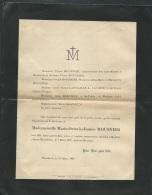 Faire Part Déces De Mll  Marie Octavie Jeanne Mousnier à Menton Le 7/03/1897   Lo42902 - Avvisi Di Necrologio