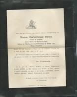 Faire Part Déces De M Charles Fernand Bottey  Médecin à Paris Le 19/04/1900  Lo42905 - Avvisi Di Necrologio