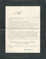 Faire Part Déces De Mme Vve Auguste Guiet Née Guimberteau à Chalais ( Dpt 16 ) Le 31/07/1906  Lo42909 - Avvisi Di Necrologio
