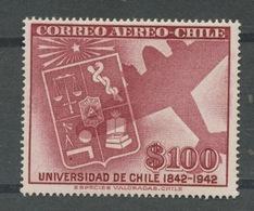 1942 Avion.  Université. Médecine Justice Balance éducation Teaching Architecture. Yv. PA 68 * - Chile