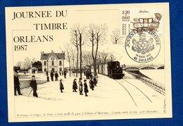 Carte / Journée Du Timbre / Tramway De Sologne / Berline  / Orléans / 14 Mars 1987 - Maximumkarten