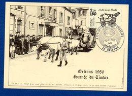 Carte / Journée Du Timbre / Char Du Boeuf / Malle-poste Briska / Orléans / 5 Avril 1986 - Maximumkarten