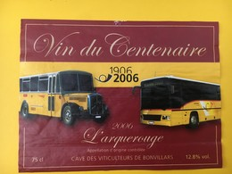 8887 - Car Postal Centenaire1906-2006 L'arquerouge Bonvillars Suisse - Etiquettes