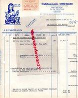 49- ANGERS- FACTURE ETS. CHEVALLIER- EAU DE COLOGNE EDITH- 1956 PARFUM  PARFUMERIE- 26 RUE ALBERIC DUBOIS - Artigianato