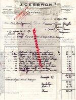 49 - ANGERS- FACTURE J. CESBRON-CULTIVATEUR MARCHAND GRAINIER-HORTICTEUR-HORTICULTURE-SAINT QUENTIN AISNE-1934 - Agriculture