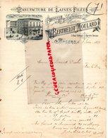 49- ANGERS-RARE FACTURE MANUSCRITE SIGNEE BERTHELOT MOULARD- MANUFACTURE LAINES FILEES- FABRIQUE BONNETERIE-1891 - Vestiario & Tessile