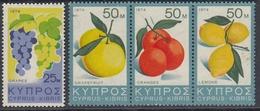 Cyprus (Republic) 1974 - Fruits: Grape, Grapefruit, Orange, Lemon - Mi 405-408 ** MNH - Chypre (République)