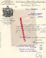 49- ANGERS- LETTRE FILATURES CORDERIES TISSAGES- BESSONNEAU- 1912- FILATURE- A E. BAILLET BORDEAUX- - Artigianato
