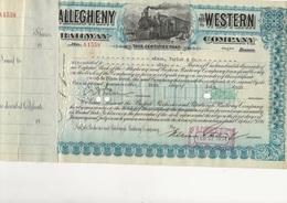 CERTIFICAT CHEMIN DE FER -ETATS UNIS - ALLEGHENY AND WESTERN COMPAGNY 1934 - Chemin De Fer & Tramway