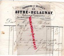 49-ANGERS-RARE FACTURE MANUSCRITE SIGNEE AUTRE DELAUNAY- 37 FAUBOURG SAINT MICHEL-FABRICANT PASSEMENTIER-1851 - 1800 – 1899