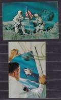 1969 USA L'UOMO SULLA LUNA APOLLO 11  MAN ON THE MOON 2 Cartoline Lenticolari 3D Cape Canaveral Viaggiate New York - FDC & Commemorrativi