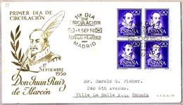 Escritor JUAN RUIZ DE ALARCON - Writter. SPD/FDC Madrid 1950 - Escritores