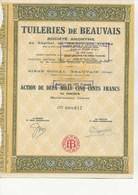 ACTION 2500 FRS - TUILERIES DE BEAUVAIS -OISE - 1919 - Industrie